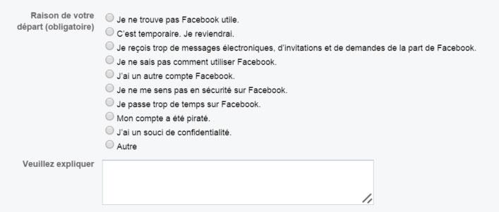 desactiver compte facebook parametres