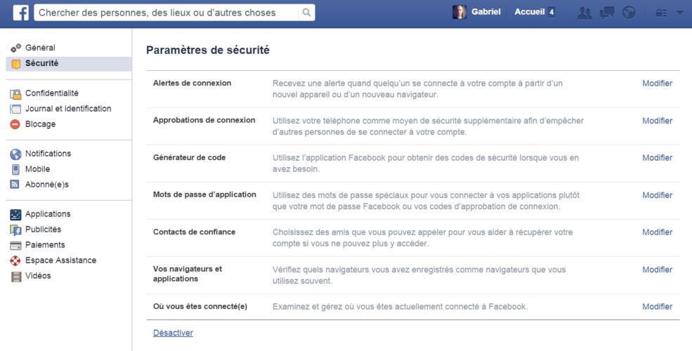 desactiver compte facebook securite