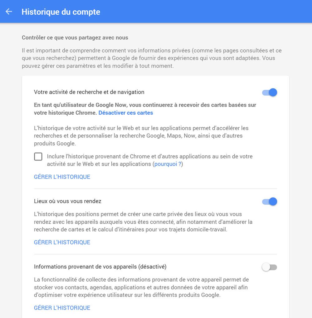 google chrome historique navigation