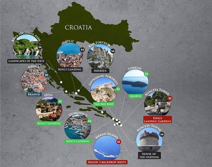 game of thrones lieu reel tournage croatie