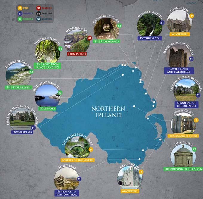 game of thrones lieu reel tournage irlande nord
