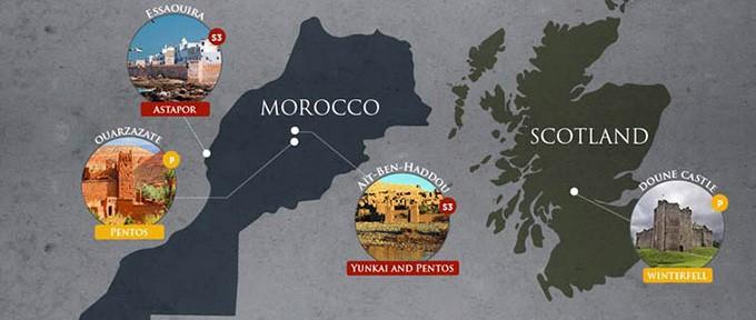 game of thrones lieu reel tournage maroc ecosse