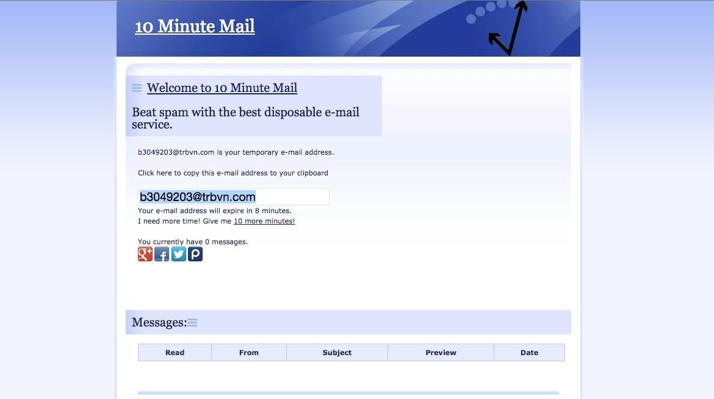Exemple de mail temporaire 10minutemail