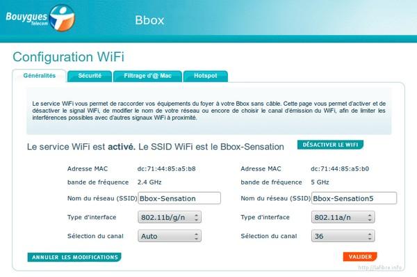Configuration Bbox Sensation Wifi