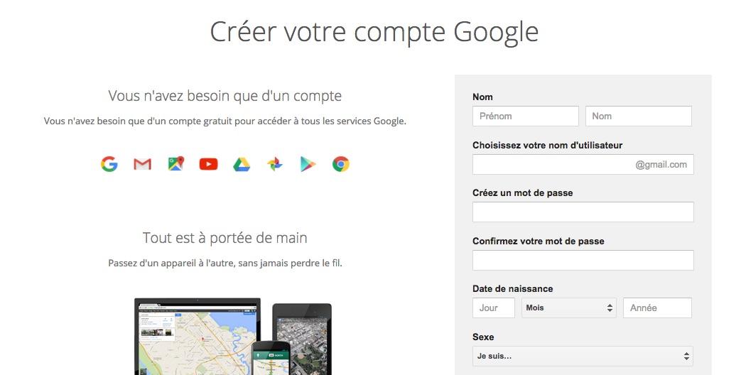 Créer un compte Google Gmail