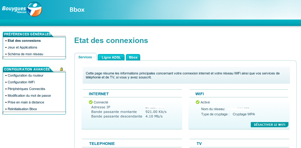 Interface de gestion Bbox de Bouygues Télécom - routeur wifi