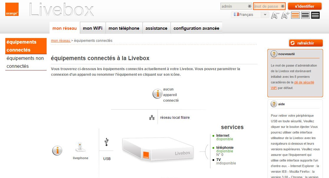 Interface de gestion de la Livebox 2 Orange