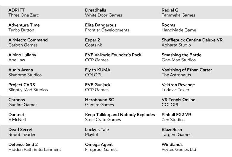 oculus rift jeux lancement