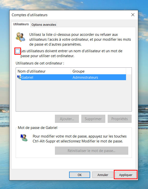 windows 10 mot de passe