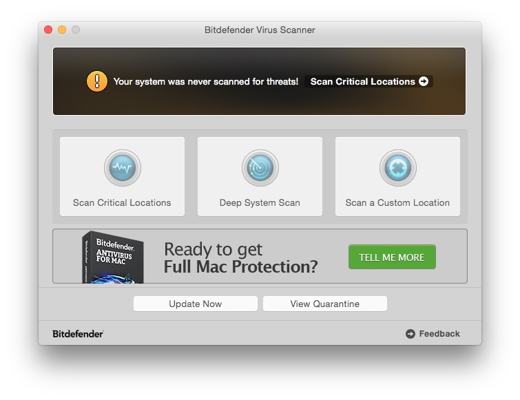 Le logiciel antivirus Bitdefender Virus Scanner For Mac