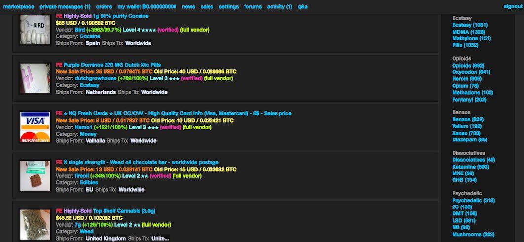 Un exemple de site marchand sur le réseau Tor... exclusivement réservé au traffic de stupéfiants