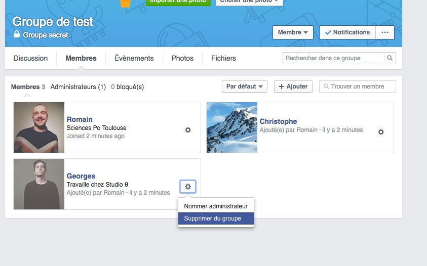 Facebook options supprimer membre