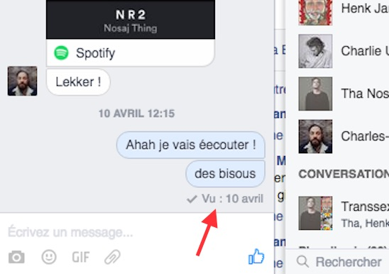 Les notifications de lecture Facebook