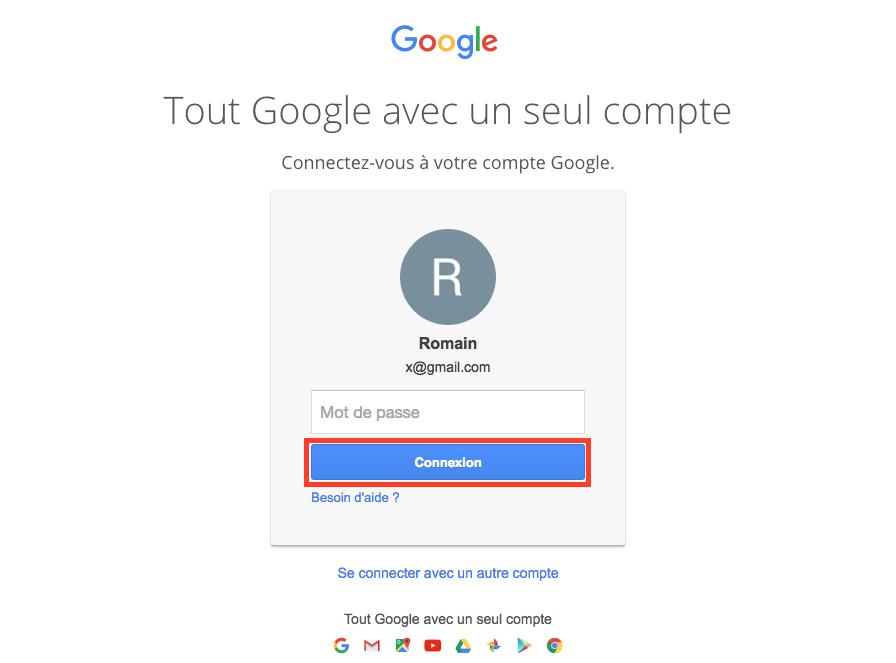 Entrez vos identifiants gmail
