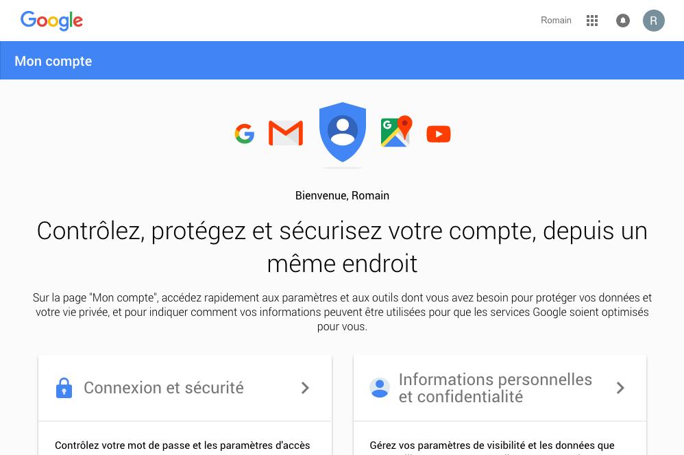 La page d'accueil Mon compte de Google
