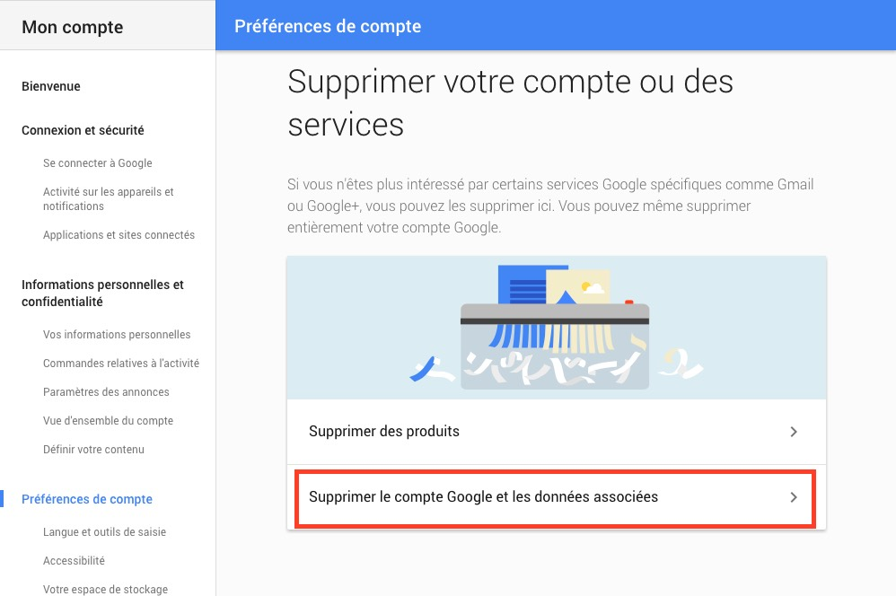 La page Google de suppression de compte ou services
