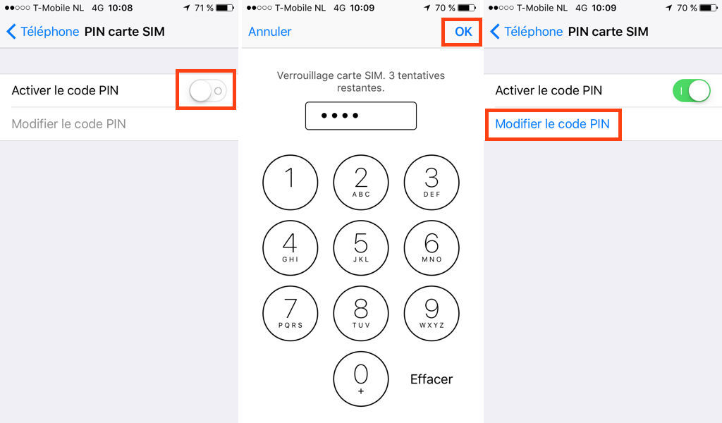iPhone : activer le code PIN et le changer