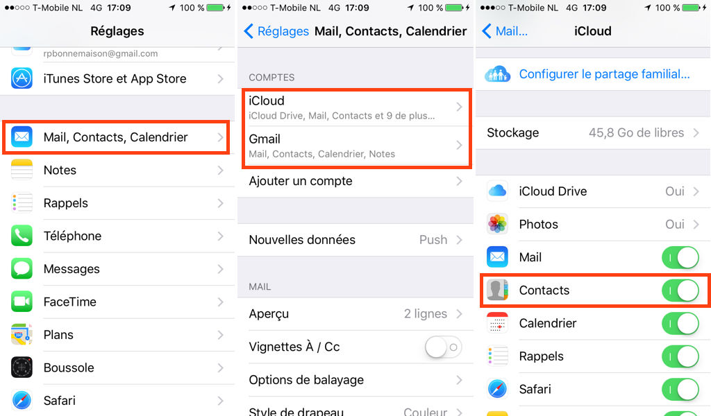 Desynchroniser les contacts iPhone