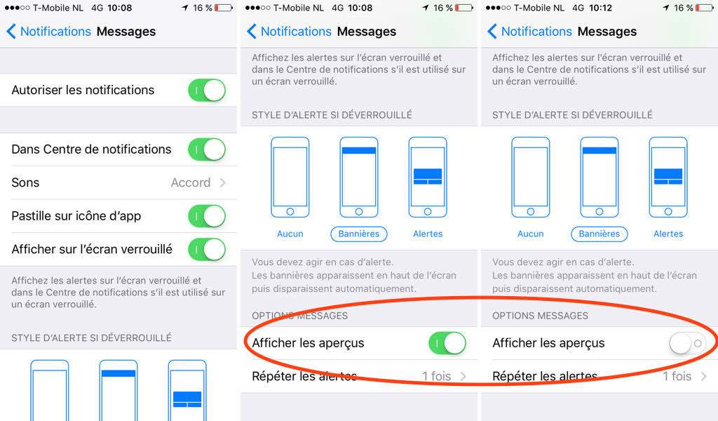 iPhone messages notifications