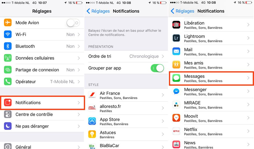 Notifications iPhone