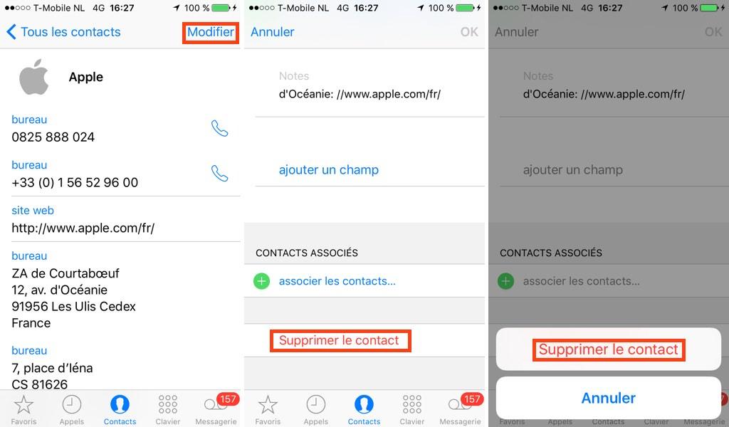 Iphone : supprimer un contact