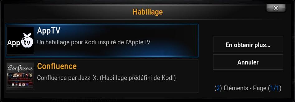 Fenêtre de sélection Kodi pour changer/ajouter un thème