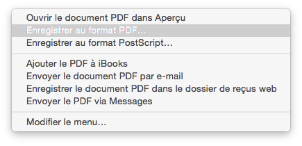 Menu déroulant PDF osx