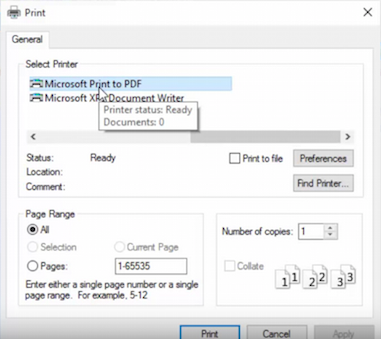 Microsoft Windows 10 Print To PDF - boîte de dialogue
