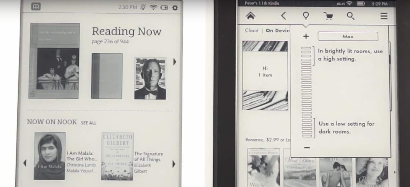 Nook Glowlight vs. Kindle Paperfire
