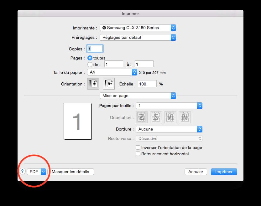 La boite de dialogue système d'impression d'impression sous Mac OS X