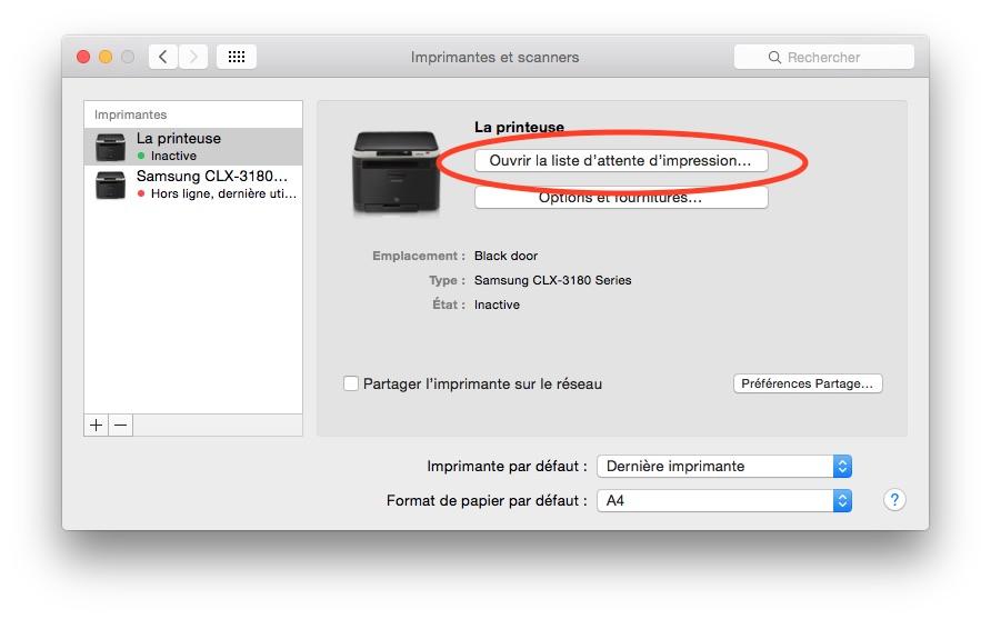 OSX Imprimantes et scanners