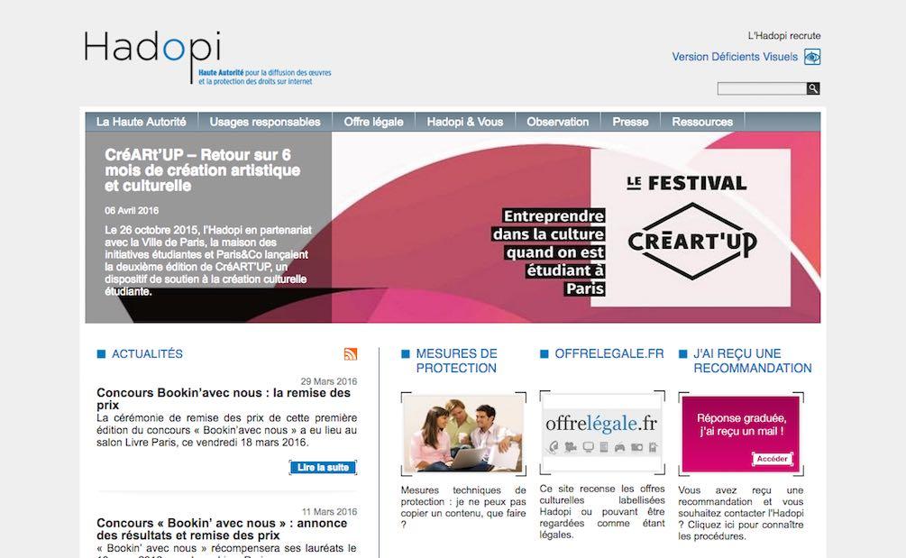Page d'accueil du site de la Hadopi