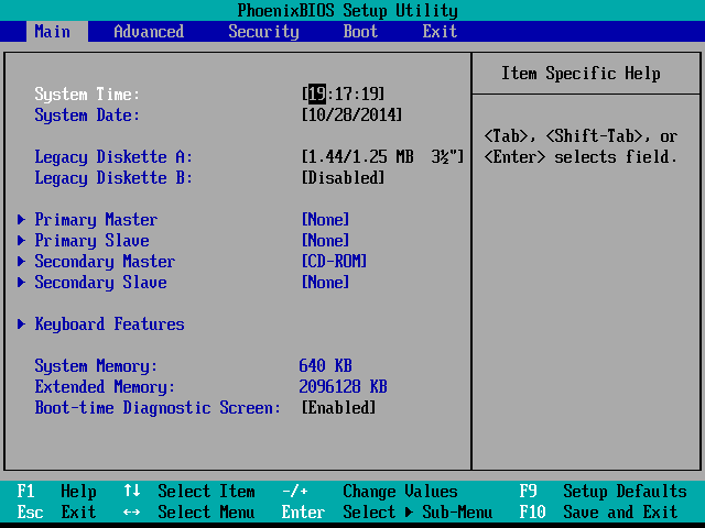 The main screen of a PhoenixBIOS