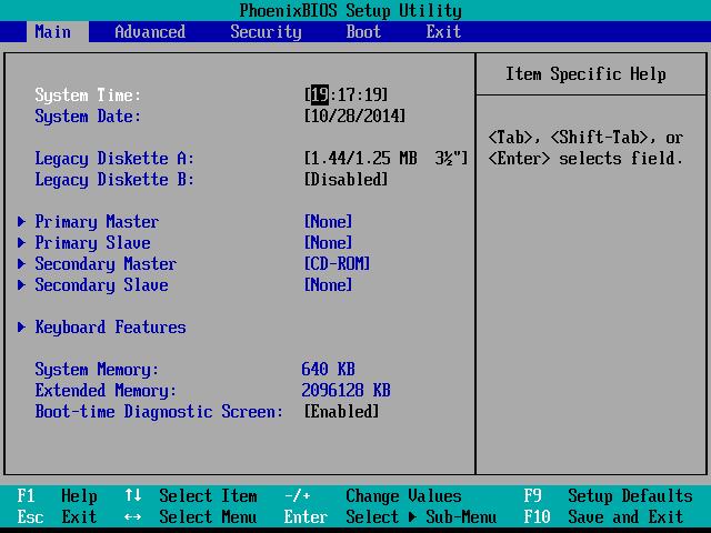 L'écran principal d'un PhoenixBIOS