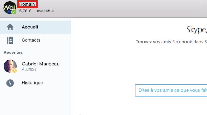 Accéder au profil Skype pour changer de nom