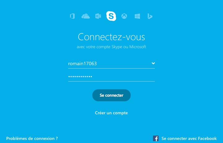 Fenêtre de connexion Skype