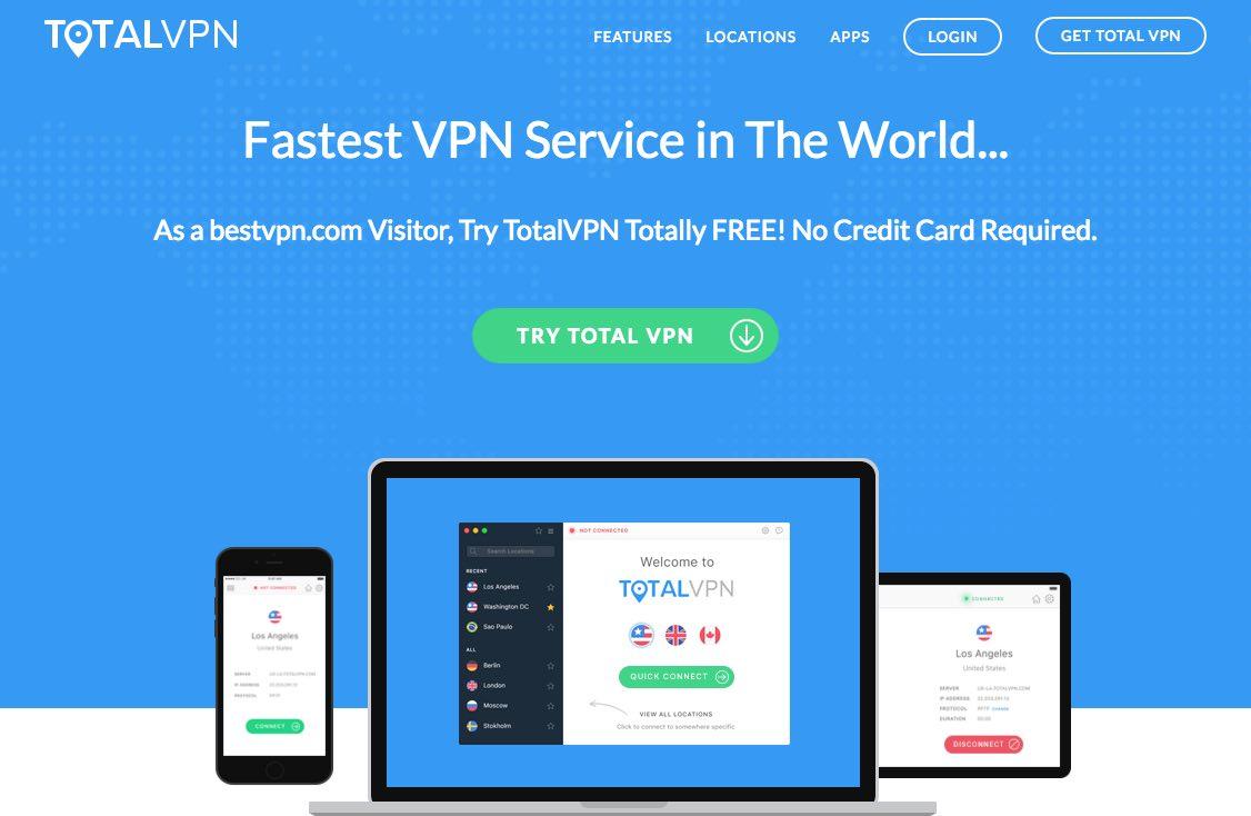 La page d'accueil du site de TotalVPN