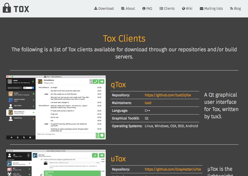 Tox propose au téléchargement différents clients