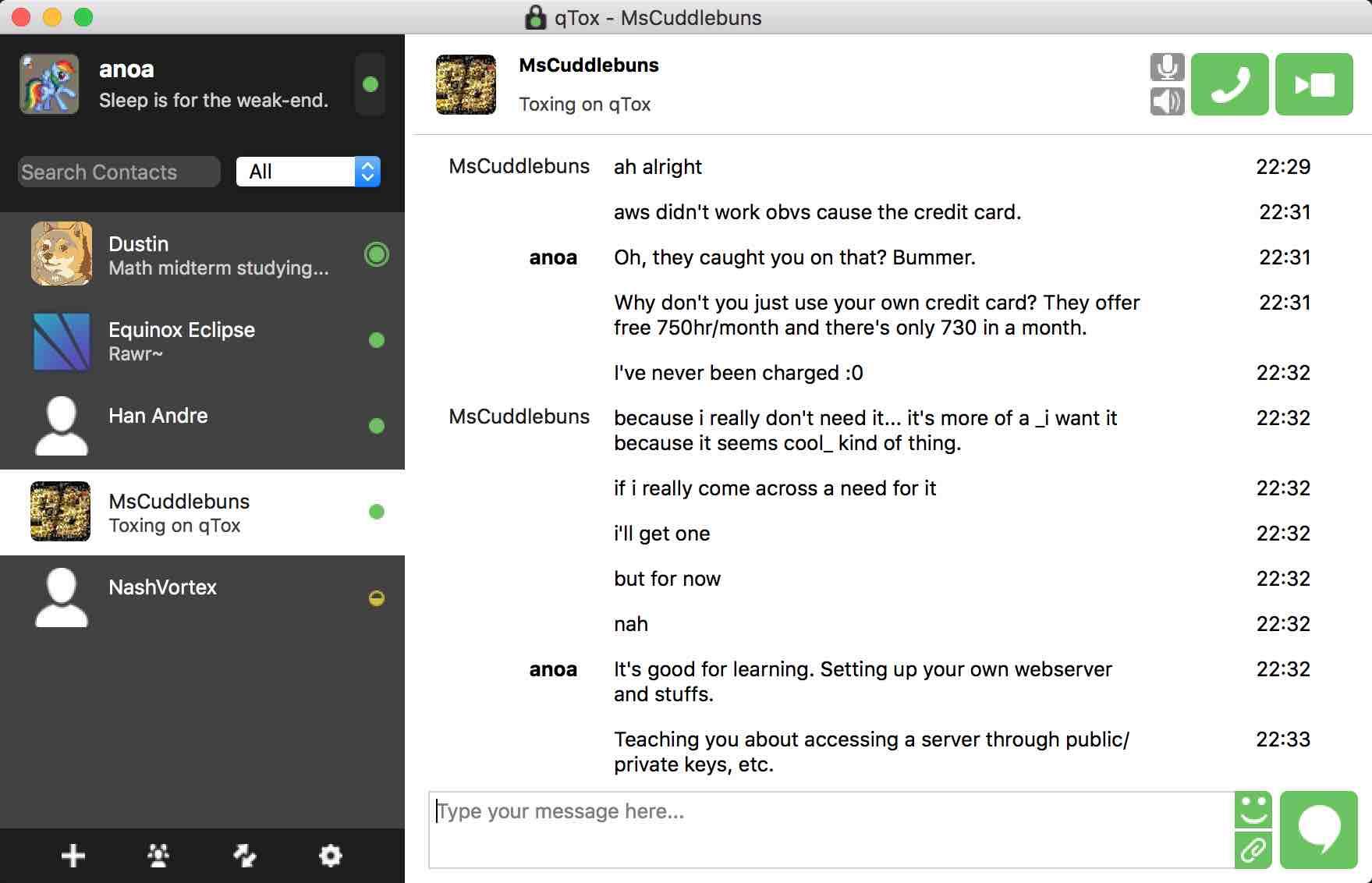 Le client qTox pour mac