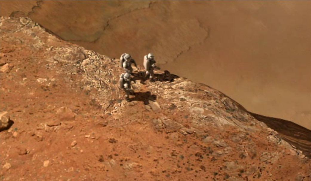 Vue d'artiste d'astronautes sur Mars