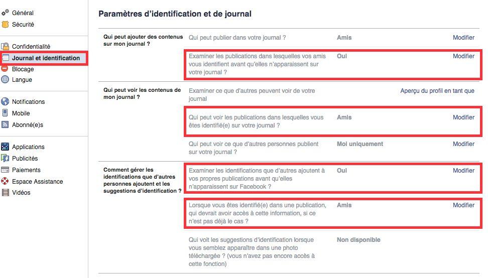 Facebook Paramètres identification et journal