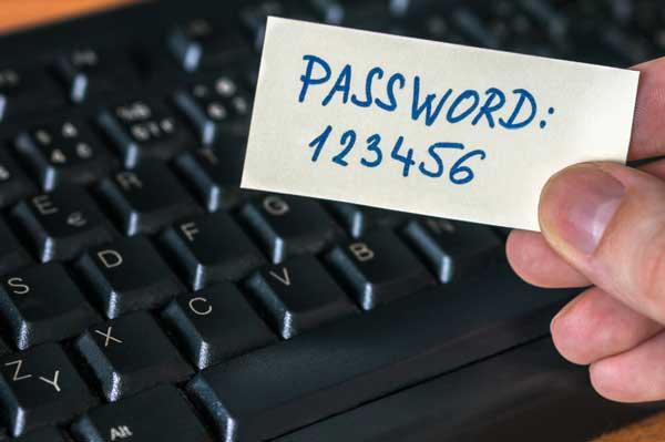 Mot de passe peu sécurisé 123456