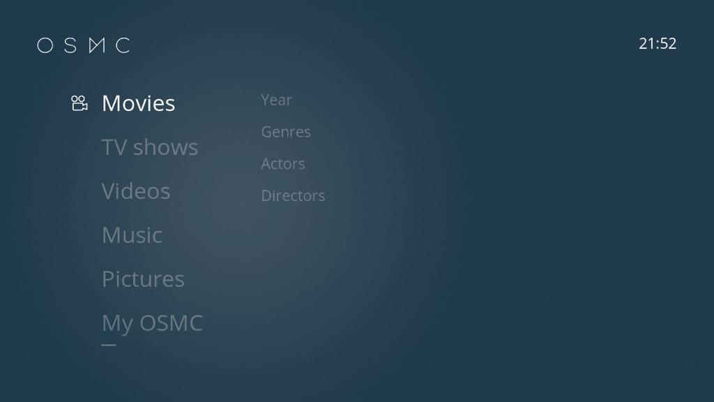 Les menus OSMC