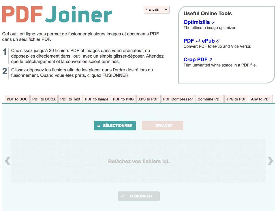 Le site PDF Joiner