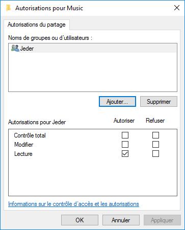 partage répertoire windows 10